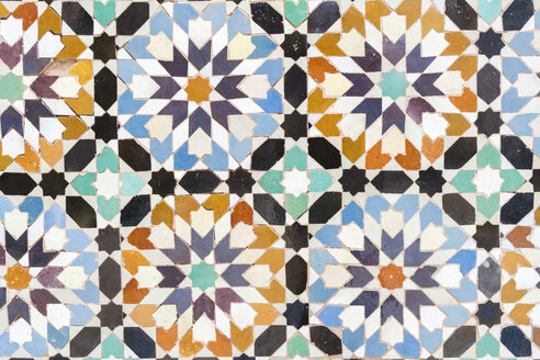 Morocco, Marrakesh, Ben Youssef Madrasa, detail of colorful tiles - TAMF00963