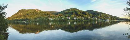 Austria, Lower Austria, St. Andrae-Woerdern, Greifenstein, Panoramic view of Greifenstein Castle and Danube river - AIF00454