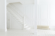 White staircase and walls in ornate house - CAIF19248