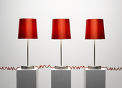 Red lamps connected by red cords - CAIF19698