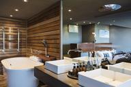Sinks and bathtub in modern bathroom - CAIF19815