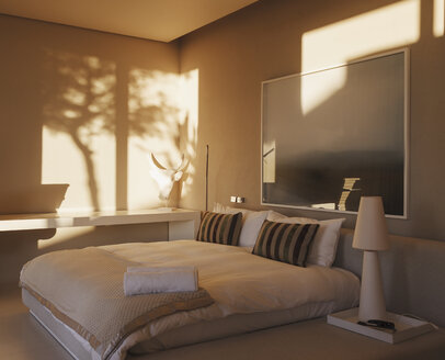 Reflection of trees on wall in modern bedroom - CAIF19935