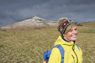 United Kingdom, Brecon Beacons National Park, Sugar Loaf, smiling female mature hiker - ALRF01012