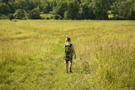 Rear view of boy with backpack walking on grassy field - CAVF10807