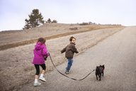 Sibling with dog running on road by field against clear sky - CAVF11683