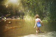 Rear view of girl walking in water at forest - CAVF11719