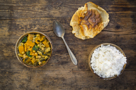 Curry dish with cauliflower, butternut pumpkin, spinach and coriander, papadam and rice - LVF06794