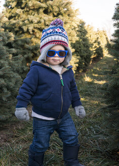 Cute boy in sunglasses standing on grassy field amidst pine trees - CAVF12255