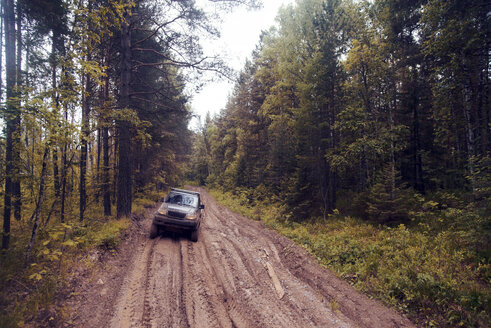 Off-road vehicle on dirt road in forest - CAVF13038