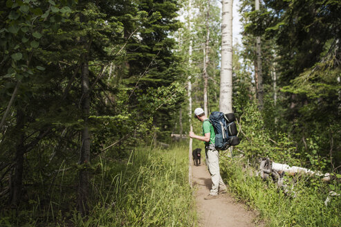Man and dog on pathway amidst trees in forest - CAVF13209
