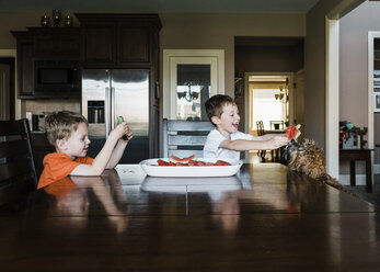 Boy looking at happy brother feeding watermelon to dog at home - CAVF14577