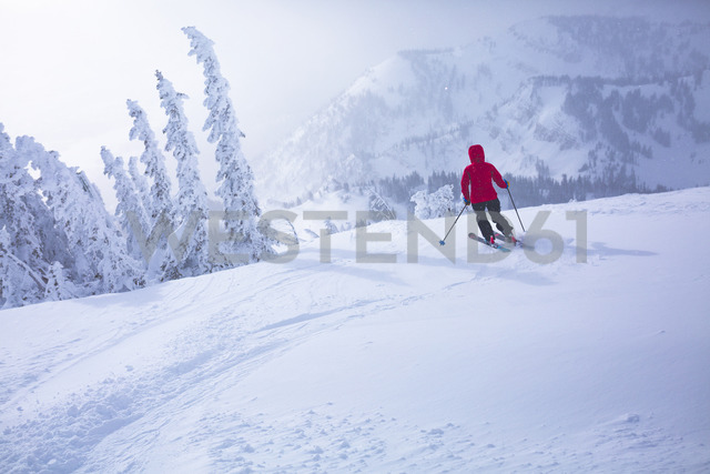Rear view of woman skiing on snow covered landscape - CAVF15252