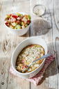 Clafoutis with rhubarb and sliced almonds - EVGF03308