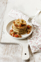 Glutenfree pancakes with rhubarb compote, cocos flour, - EVGF03314