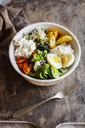 Lunch Bowl with baked potato and carrot, herbed curd cheese, salad, mangold, feta and boiled egg - EVGF03317