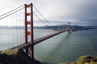 High angle view of Golden Gate Bridge against sky - CAVF16130
