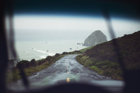Scenic view of sea seen through car windshield - CAVF16244