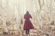 Rear view of woman walking amidst bare trees on field - CAVF16692