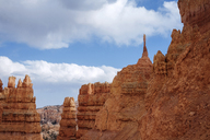 Rock formation at Bryce Canyon against cloudy sky - CAVF18542