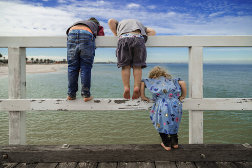 Rear view of siblings looking at sea while standing on railing against sky - CAVF20168