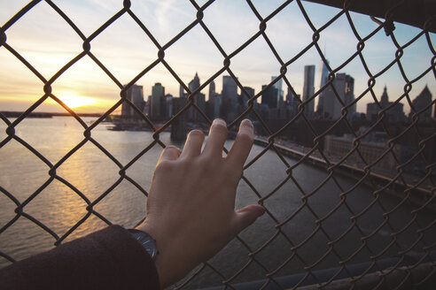 Cropped image of man holding chainlink fence with modern skyline in background - CAVF21377