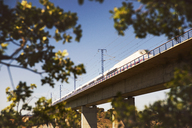 Low angle view of high speed train on railway bridge against clear sky - CAVF22682