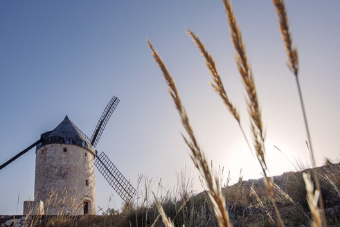 Low angle view of traditional windmill against clear sky - CAVF22697