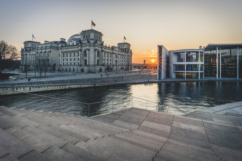 Germany, Berlin, view to Reichstag and Paul Loebe House at sunset - KEBF00766
