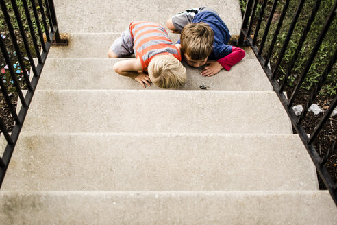 High angle view of curious brothers looking at insect while sitting on steps - CAVF24723