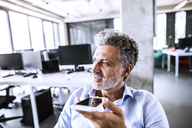 Portrait of mature businessman using smartphone in office - HAPF02676