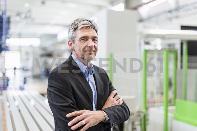 Smiling businessman in production hall - DIGF03481 - Daniel Ingold/Westend61