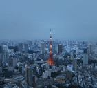 Aerial view of illuminated Tokyo Tower amidst cityscape at dusk - CAVF24883