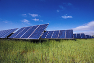 Solar panels on grassy field against blue sky - CAVF24973