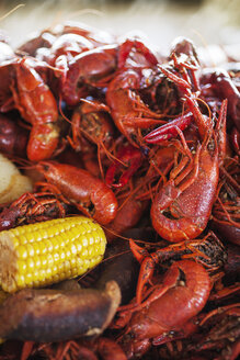 Close-up of boiled crayfishes with corn and potatoes - CAVF25162