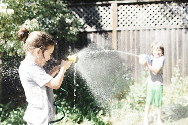 Playful brothers playing with water in yard during sunny day - CAVF25477