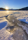 Italy, Abruzzo, Gran Sasso e Monti della Laga National Park, Lake Campotosto at sunrise in winter - LOMF00704