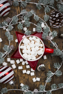 Cup of Hot Chocolate with marshmellows and Christmas decoration - LVF06822