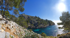 Spain, Balearic Islands, Mallorca, Peninsula Formentor, Cala en Gossalba, hiker looking at distance - WWF04212