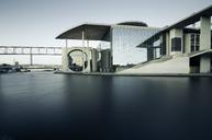 Germany, Berlin, Regierungsviertel, Marie-Elisabeth-Lueders-Building at Spree river in the evening - STCF00494
