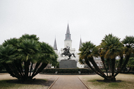 Andrew Jackson statue and St. Louis Cathedral against clear sky - CAVF27181