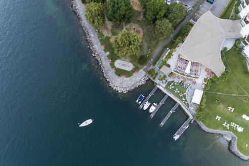 Switzerland, Ticino, Aerial view of Locarno, Lake Maggiore - TAMF00995