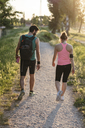 Rear view of young couple walking at park during sunset - CAVF27756