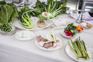 Assortment of vegetables and eggs on plates - KVF00119