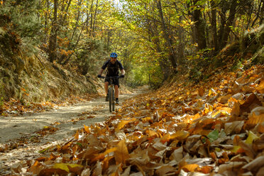 Italy, Liguria, Finale Ligure, Mountainbiker at ravine in autumn - LBF01864