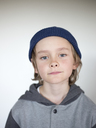 Portrait of boy wearing blue knit hat - FOLF01344