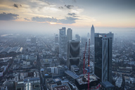 Germany, Hesse, Frankfurt, View from Main Tower, cityscape at sunset - WIF03487