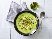 Cream of avocado soup, yogurt, bacon, mint pesto, fresh herbs - KSWF01885