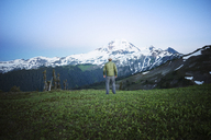 Rear view of man standing on grassy field against mountain - CAVF30287