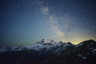 Scenic view of snowcapped mountain against starry sky - CAVF30290