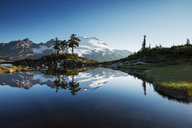 Scenic view of mountain's reflection in lake against clear blue sky - CAVF30314